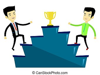 Businessmen competing for the business award.