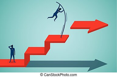 Businessmen competing go to target on the red arrow. business finance success. leadership. startup. illustration cartoon vector