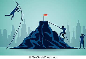 Businessmen competing go to target red flag on the Mountain. business finance success. leadership. startup. illustration cartoon vector