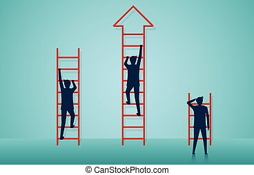 businessmen competition are climbing stairs go to goal. business finance success. leadership. startup. creative idea. illustration cartoon vector