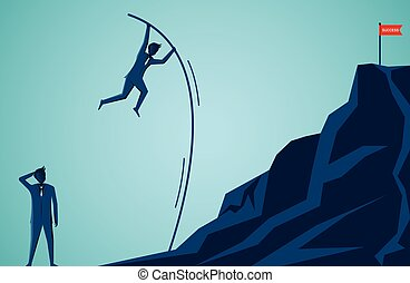 Businessmen competition are jumping using Wood to help go to the red flag target on the Moutain. to overcome obstacle for the ultimate goal. business finance success. cartoon vector