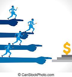 businessmen competition - businessmen run for dollar trophy ...