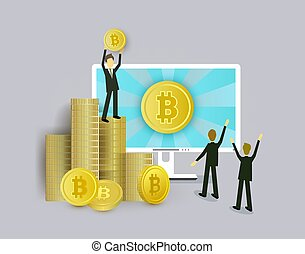 Businessmen, computer and stacks of bitcoin coins