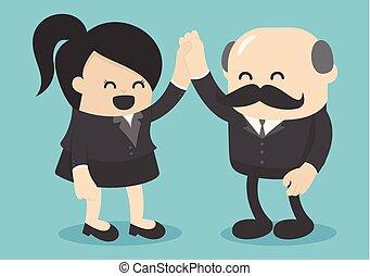 Businessmen congratulate successful business women for their...