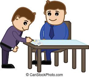 Businessmen Conversation - Drawing Art of Cartoon Business...