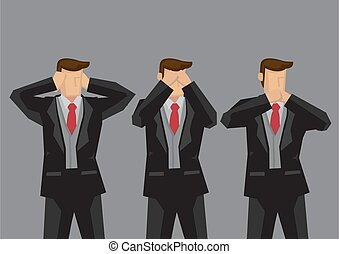 Businessmen Cover Ears Eyes and Mouth Cartoon Vector Illustation