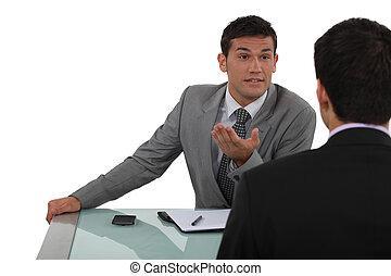 businessmen, debatovat, obout si, dva, vášnivý
