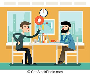 Businessmen discussing strategy sitting at office desk. Vector illustration in flat style