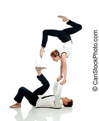 Businessmen doing yoga with PC, isolated on white. Concept ...