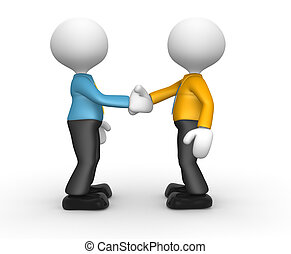 Businessmen - 3d people - man, person friendly handshake....