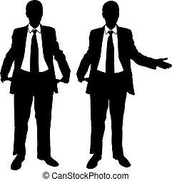 businessmen - illustration of businessmen with empty pockets