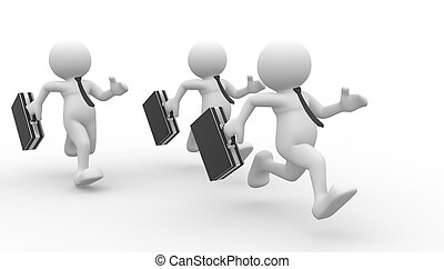 Businessmen - 3d people - men , person running with...