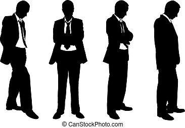 businessmen - silhouettes of businessmen posing
