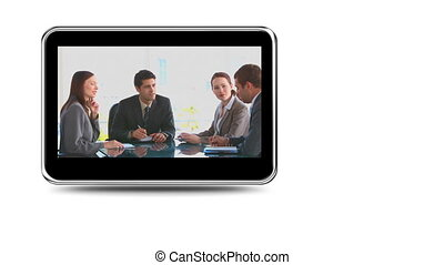 Montage of businessmen exchanging ideas during meetings