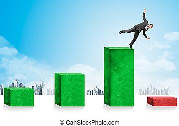 Businessmen falling down toward economic crisis
