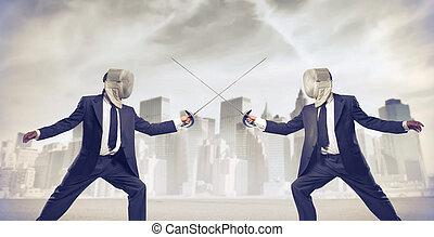 Businessmen fencing - 2 businessmen fencing