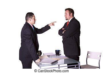Businessmen Fighting Across the Desk - Businessmen in an...