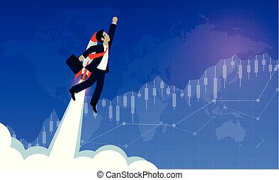 Businessmen flying with rocket engines forward to goal, financial business planning concept. Forex trading and to achieve success and higher in the enterprise. Modern ideas and vector illustrations