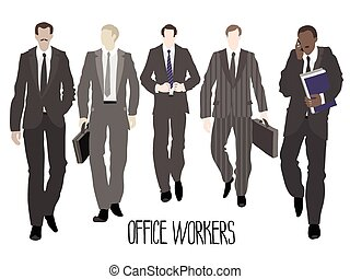 Businessmen going forward. Vector characters isolated on white background