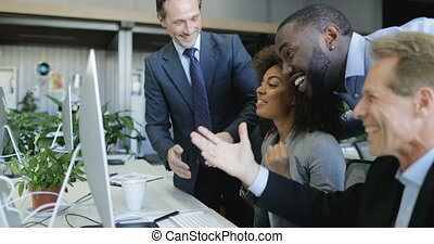 Businessmen Group Cheering At Businesswoman Success Sitting At Office Desk In Modern Coworking Center, Happy Successful Business People Group On Work