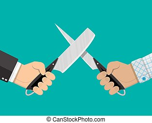 Businessmen hands with knives. Conflict, rivalry,...