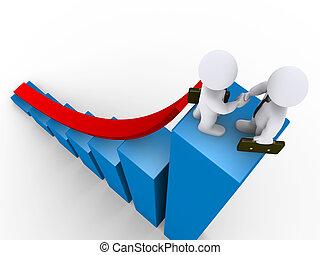 Businessmen handshake on top of graph