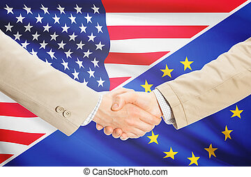 Businessmen shaking hands - United States and European Union