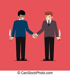 Businessmen hiding the knife for Betrayal or back stab of business partner