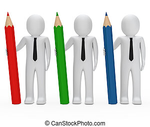 businessmen hold pencil