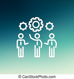 Businessmen holding a gear of machine thin line icon