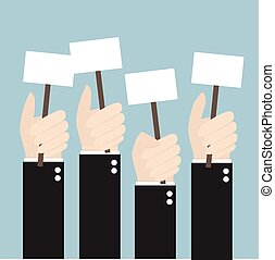 Businessmen holding a signboard with the blank paper. A lot of hands hold placards. flat design, illustion