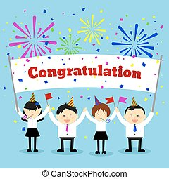 Businessmen holding congratulation sign.  Vector concept background