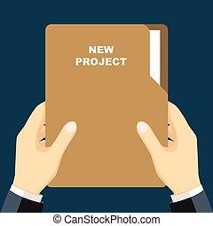 Businessmen holding Folder, document in hand-Vector flat design