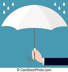 Businessmen holding open white umbrella-Vector flat design