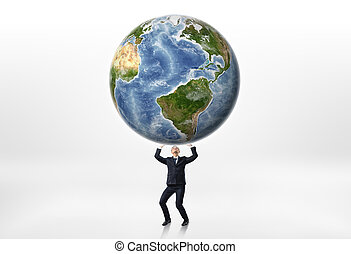 Businessmen holding the Earth up above himself on a white background