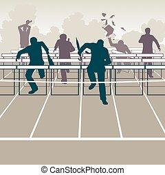 Businessmen hurdles