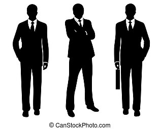 Businessmen - businessmen in suit silhouette isolated on...