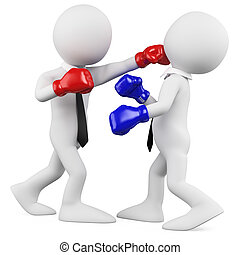 Businessmen in a boxing match. Rendered on a white...