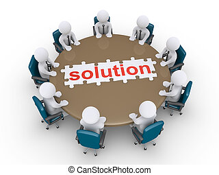 Businessmen in a meeting find the solution