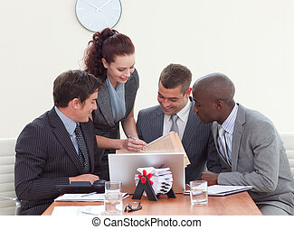 Businessmen in a meeting talking to a secretary - Three...