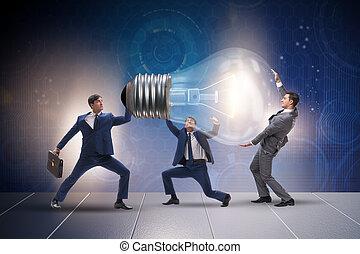 Businessmen in bright idea concept