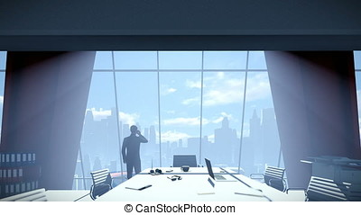 Businessmen in conference room talking on mobile, rear view cityscape, zoom in