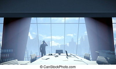Businessmen in conference room talking on mobile, rear view cityscape