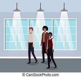 businessmen in corridor office