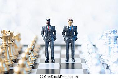 businessmen, képben látható, sakktábla