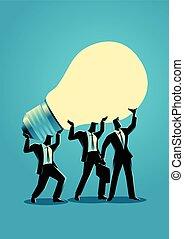 Businessmen lifting up a light bulb together