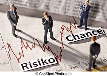 Businessmen look at the price development