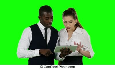 Businessmen looking at their laptop. Green screen