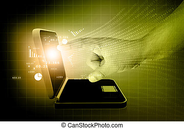 businessmen;, mano, schermo tocco, grafico, su, uno, laptop