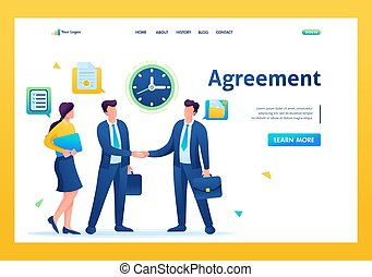 Businessmen of large companies sign an agreement and conclude a contract. Flat 2D. vector illustration landing page